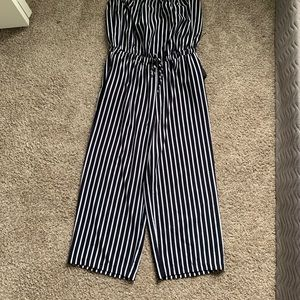 Strapless, striped romper | navy blue
